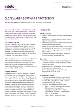 Datasheet: Cloakware® Software Protection