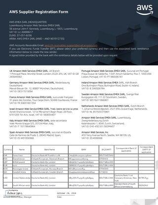 AWS EMEA Supplier Registration
