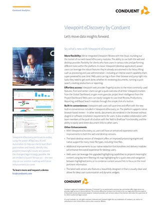 Conduent Viewpoint eDiscovery 7.0 Features