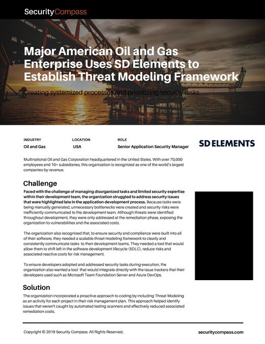 Establishing a Threat Modeling Framework with SD Elements