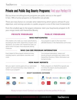 HackerOne Private and Public bounty Program Brief