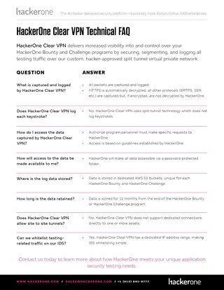 HackerOne Clear VPN Technical FAQ