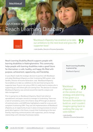 Reach Learning Disability | eTapestry