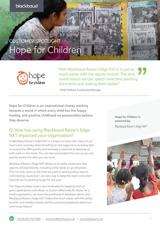 Hope for Children | Raiser's Edge NXT