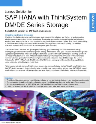 Lenovo Solution for SAP HANA with ThinkSystem DM/DE Series Storage