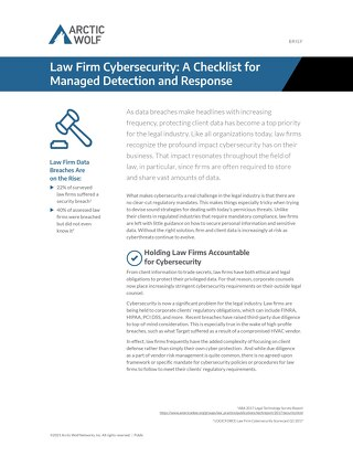 Law Firm Cybersecurity: A Checklist for Managed Detection and Response