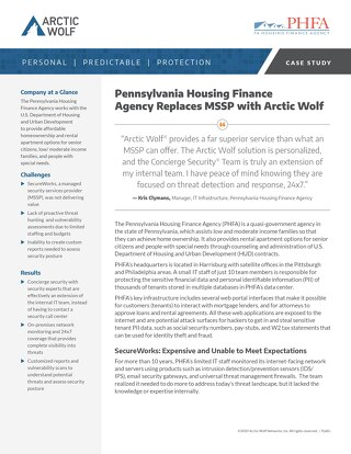 Pennsylvania Housing Finance Agency Replaces MSSP with Arctic Wolf SOC-as-a-Service