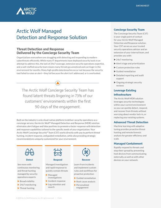 Arctic Wolf Managed Detection and Response