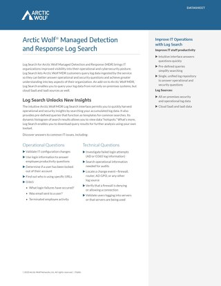 Arctic Wolf SOC-as-a-Service Log Search