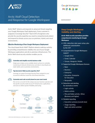 Arctic Wolf SOC-as-a-Service Monitoring for G Suite