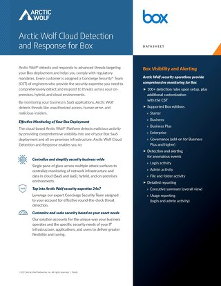 Arctic Wolf SOC-as-a-Service Monitoring for Box