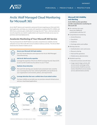 Arctic Wolf SOC-as-a-Service Monitoring for Office 365