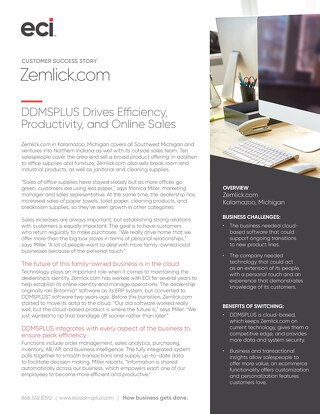 Zemlick Office Products Success with DDMSPLUS