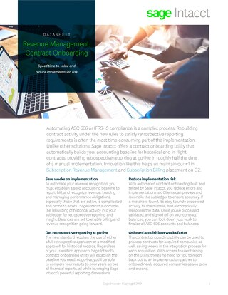 Contract Onboarding for Revenue Management and Billing