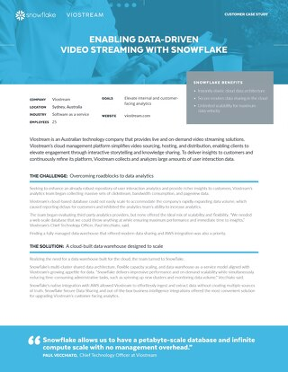 Viostream: Enabling Data-Driven Video Streaming with Snowflake