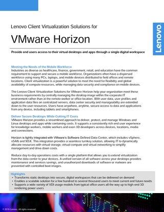 Lenovo Client Virtualization Solutions for VMware Horizon