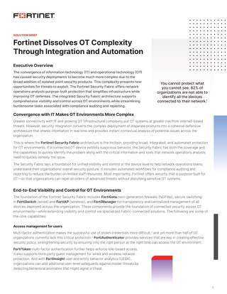 Fortinet Dissolves OT Complexity