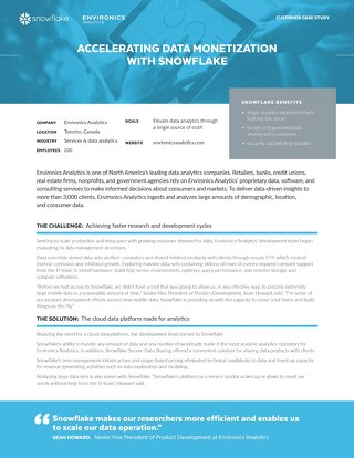 Environics: Accelerating Data Monetization with Snowflake