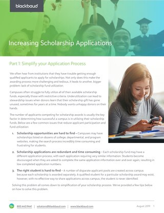 Whitepaper:  Increasing Scholarship Applications - Part 1