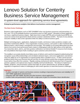 Lenovo Solution for Centerity Business Service Management