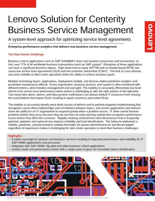 Lenovo Solution for Centerity Business Service Management