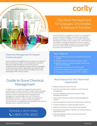 One Pager - Chemical Management for Universities and Research Facilities