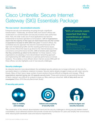 Cisco Umbrella Secure Internet Gateway (SIG) Essentials Package