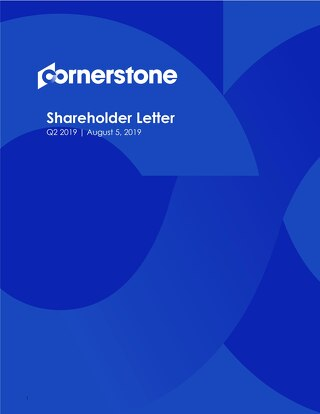Cornerstone - Shareholder Letter Q2 2019