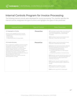 Internal Controls for Invoice Processing
