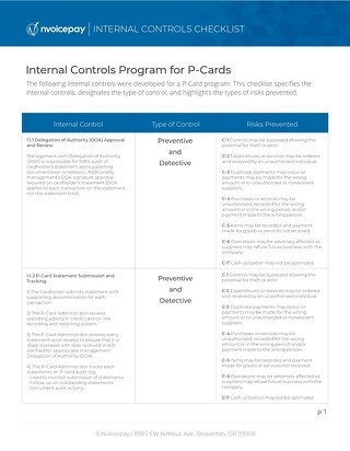 Internal Controls for P-Card Programs