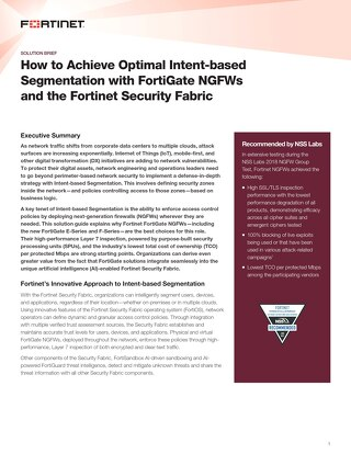 How to Achieve Optimal Intent-based Segmentation with FortiGate NGFWs and the Fortinet Security Fabric