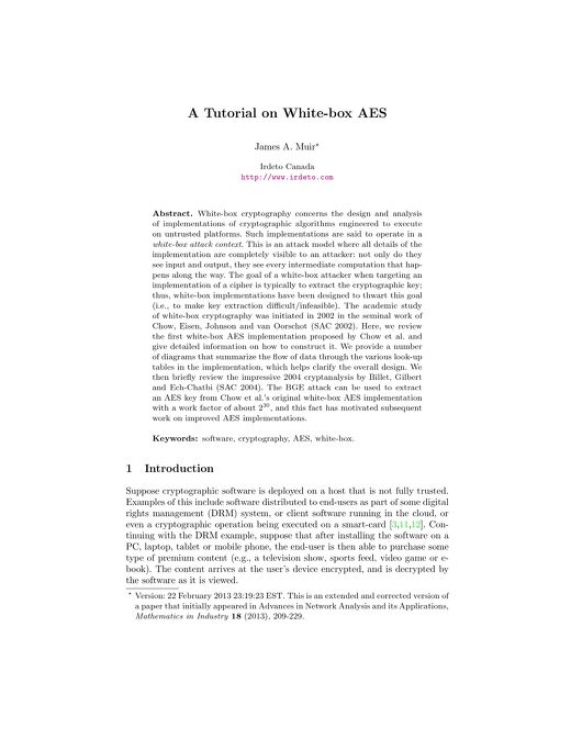 Whitepaper: A Tutorial on White-box AES