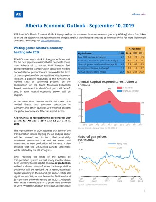 Alberta Economic Outlook Sept 2019