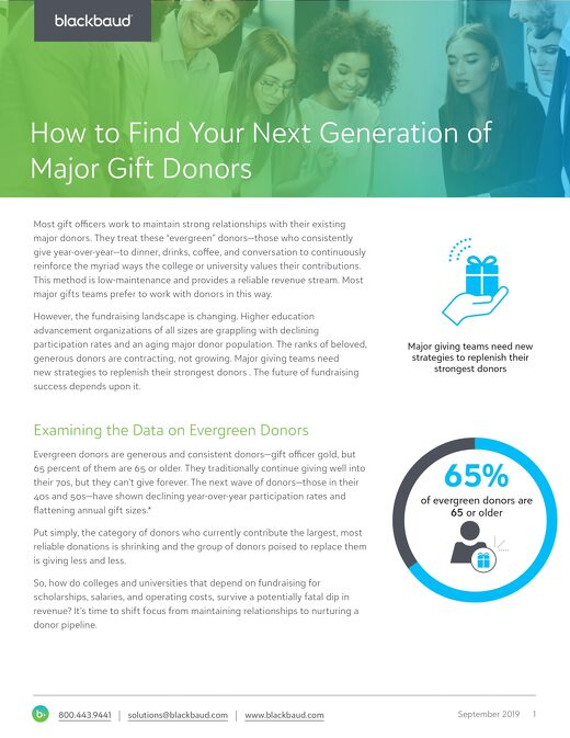 White Paper:  Finding Your Next Generation Of Major Gift Donors