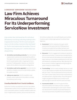 Success Story: Law Firm achieves ServiceNow ROI with Crossfuze