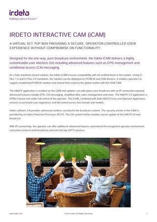 Datasheet: Irdeto Interactive Cam