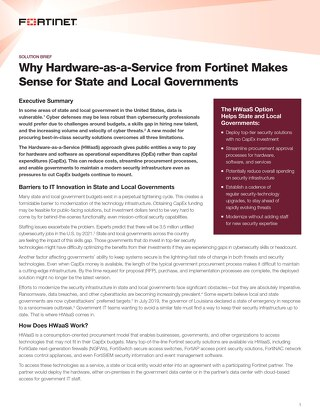 Why Hardware-as-a-Service from Fortinet Makes Sense for State and Local Governments