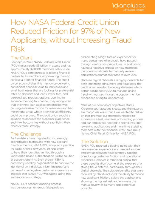 How NASA Federal Credit Union Reduced Friction for 97% of New Applicants, without Increasing Fraud Risk