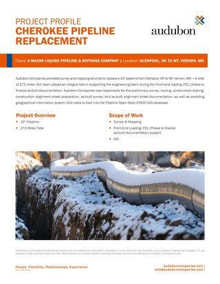 Cherokee Pipeline Replacement - Project Profile