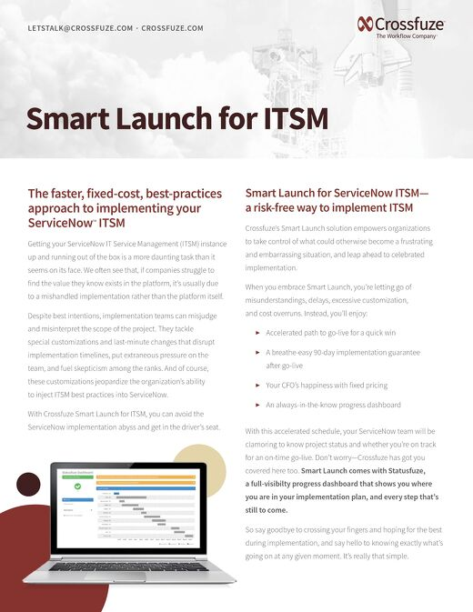 Info Sheet: Smart Launch for ITSM