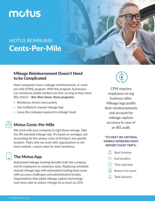 Motus Reimburse: Cents-Per-Mile