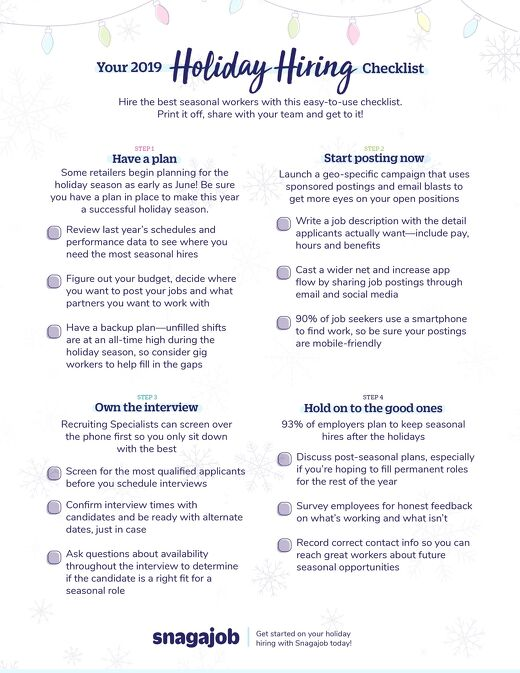 Holiday Hiring 2019 Checklist
