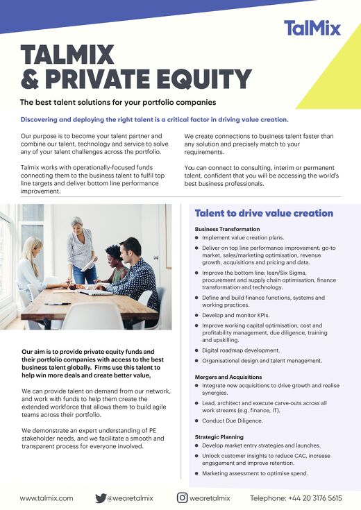 Talmix & Private Equity Factsheet