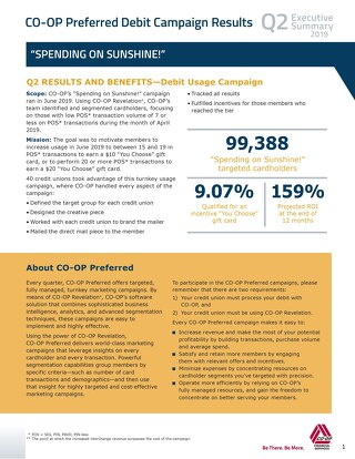 CO-OP Preferred 2019 Q2 Debit Campaign Results