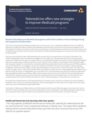Telemedicine offers new strategies to improve Medicaid programs