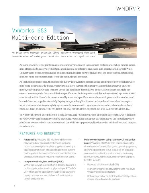 VxWorks 653 Multi-core Edition Product Overview