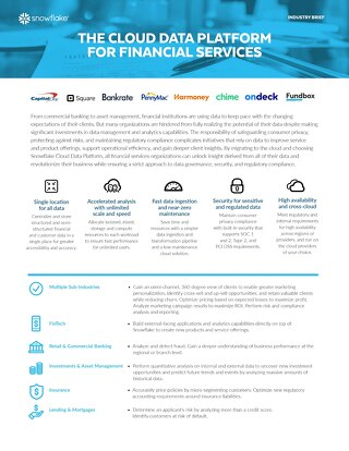 The Cloud Data Warehouse for Financial Services