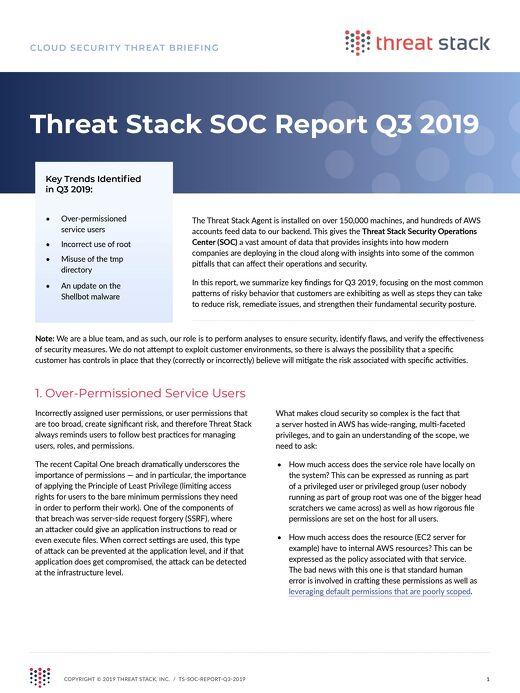 Threat Stack SOC Report Q3 2019