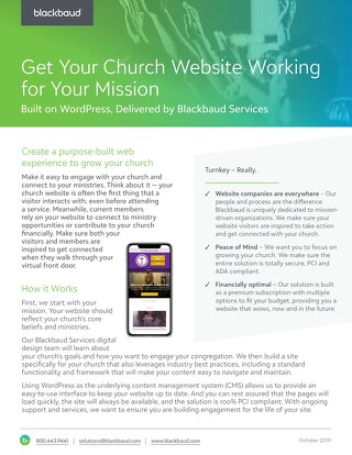 Web Design for Church Datasheet