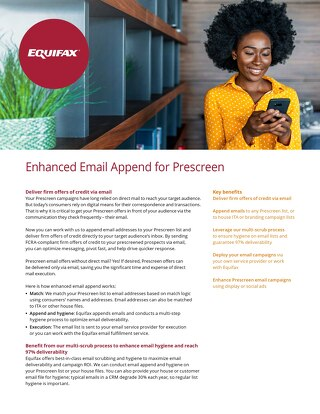 Enhanced Email Append for Prescreen - Product Sheet